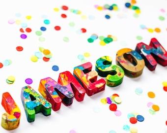 Kids Personalized Crayons - Crayon Name Set - Custom Original Rainbow Crayon® Name Crayons in a Gift Box - Stocking Stuffer Kids Gift Boy