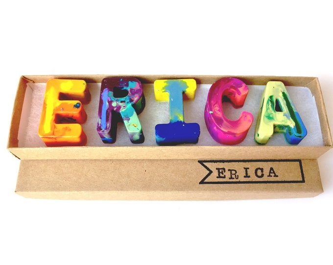 Kids NAME Crayons - Recycled Crayon Set - Custom Alphabet Name Crayons in a Gift Box - Crayon Toy - Birthday Gift -Kids Birthday Gift Boy