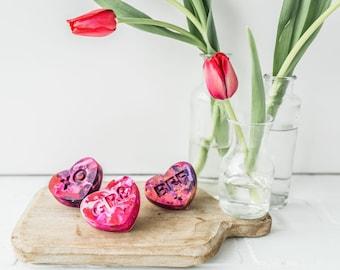 Kids VALENTINE Heart Crayons - Conversation Heart Rainbow Crayons (set of 3 Recycled Crayons) - Valentines Day Gift Set