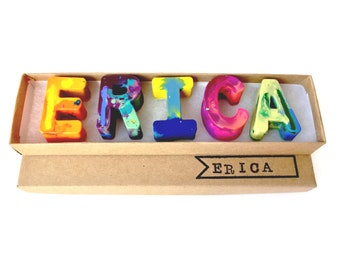 Kids BIRTHDAY Crayons - Crayon Name Set - Custom Alphabet Name Crayons in a Gift Box - Crayon Toy - Birthday Gift Kids - Holiday Craft Gift