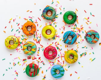 Donut Crayons Stocking Stuffer - Mini Donut Original Rainbow Crayons® Boxed Set of 4 Original Rainbow Crayons® - Donut Handmade Crayon Set