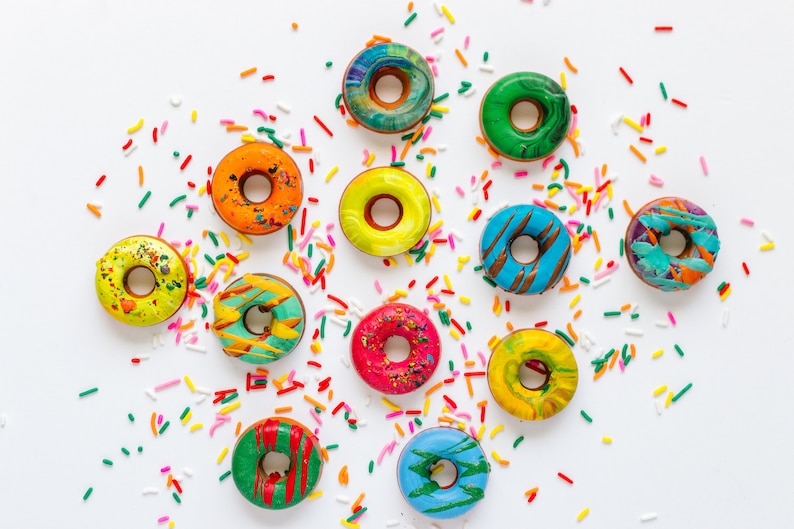 Donut Crayons  Mini Donut Crayon Boxed Set of 4 Original image 0