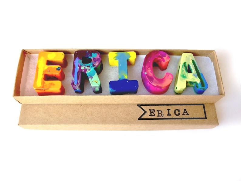 Kids NAME Crayons  Recycled Crayon Set  Custom Alphabet Name image 0