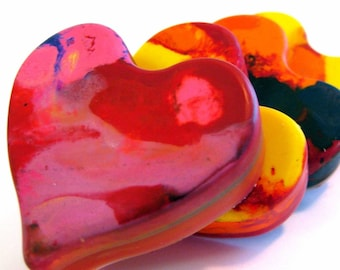 Kid's  VALENTINES Crayons -  Single Heart Shaped Valentines Day Crayons -  Jumbo Original Rainbow Crayons (1 Heart Crayon) - Heart Crayons