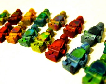 Kids CRAYONS - Brick Men Original Rainbow Crayons (Set of 8 Recycled Crayons-RAINBOW COLOR Mix) - Crayon Gift for Kids -Easter Gift for Kids