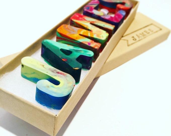 NAME Crayons - Handmade Crayon Set for Kids - Custom Alphabet Name Crayons in a Gift Box - Birthday Gift Set - Christmas Crayons Kids