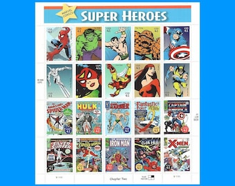 41c Marvel Comics Super Heroes Sheet of 20 | Unused US Postage Stamp | The Hulk | Iron Man | X-Men | The Avengers | Wolverine | Spider Man