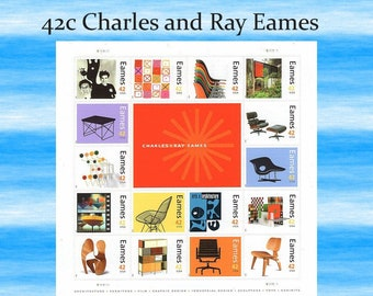 42c Eames Sheet of 16 stamps / Mid Century Modern  | Art and Architecture | MCM Furniture | Modern Art | Decorators | Designers | self-stick