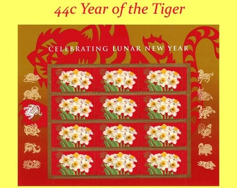 44c Lunar Year of the Tiger | Vintage Unused US Postage Stamp | Sheet of 12 stamps | Narcissus | Chinese New Year | Self Sticking stamps