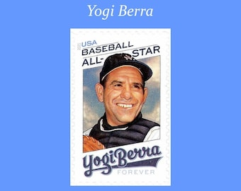 Pack of 10 Yogi Berra Forever Stamp | Baseball All Star | Yankees | World Series | Sports Legends | New York | Hall of Fame Catcher | Mets
