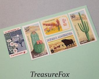SOUTHWESTERN DESERTS .. Unused Vintage Postage Stamps | 58 cent rate | mail 5 letters | Wedding invitation postage | Desert plants | Western