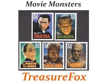 32c MOVIE MONSTERS set of 5 stamps | Unused US Postage Stamps | Halloween | Dracula | Frankenstein | Wolf Man | Mummy | Phantom of the Opera
