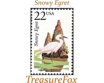 Stamp Scenic Nature Stamping Snowy Egret 1746G Bird Rubber Stamp Animals