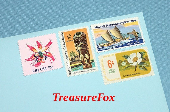 Aloha Hawaii Unused Us Postage Stamps Enough To Mail 10 Letters Hawaiian Themed Stamps Destination Weddings And Honeymoons
