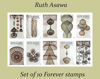 Set of 10 Ruth Asawa Forever stamps / Mail Wedding Invitations | Save the Date | Bridal Shower | Neutral tones | Modern art | self-sticking