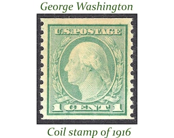 Pack of 5 .. 1c George Washington Coil stamp of 1916 |  Vintage Unused US Postage Stamps | Stamp collecting, pen pals and calligraphy gifts.