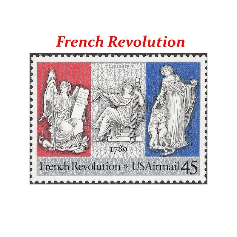 FIVE 45c French Revolution Airmail Stamp Vintage Unused