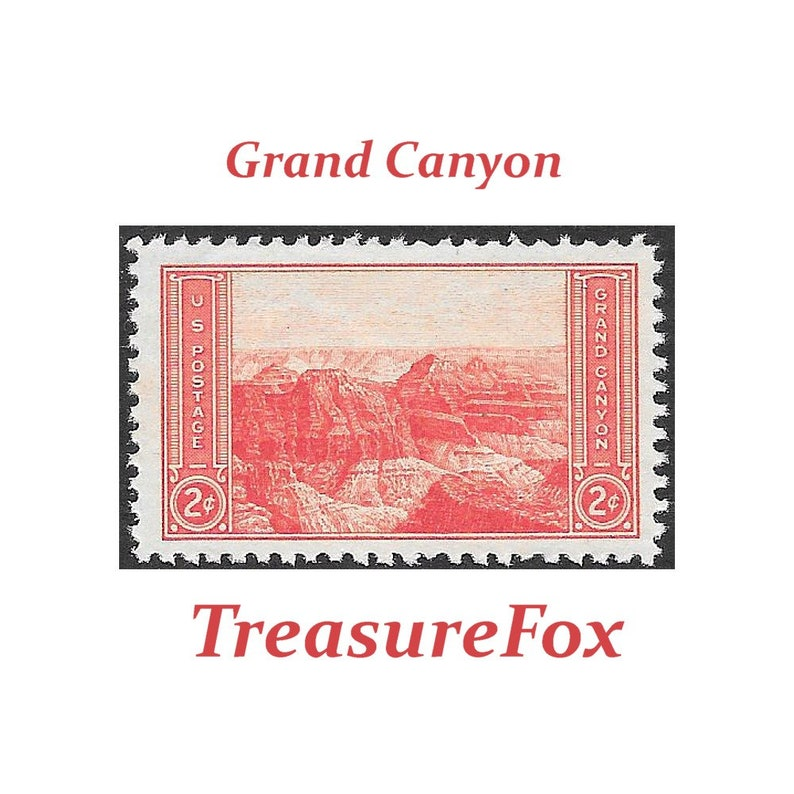Ten 2c Grand Canyon National Park stamps    Vintage Unused US Postage  Stamps | Pack of 10 stamps | Arizona | White water rafting | Travel