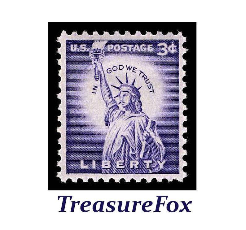 Pack Of 10 3 Cent Statue Liberty Stamp Issued 1956