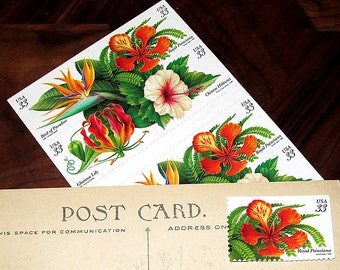 Tropical Flowers .. Unused Vintage Postage Stamps Tropical wedding decorations, Florida wedding, Southern paradise