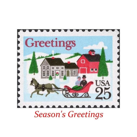 Christmas Stamps.Ten 25c Sleigh Ride Christmas Stamps Vintage Unused Us Postage Stamps White Christmas Jingle Bells Seasons Greetings Snow Ride