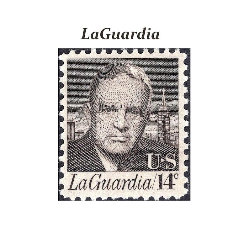 TEN 14c Fiorello LaGuardia stamp    Vintage Unused Postage Stamps   New  York City Mayor   Congressman   LaGuardia Airport   Empire State