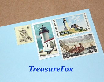 Unused Vintage Postage Stamps for mailing by TreasureFox on Etsy