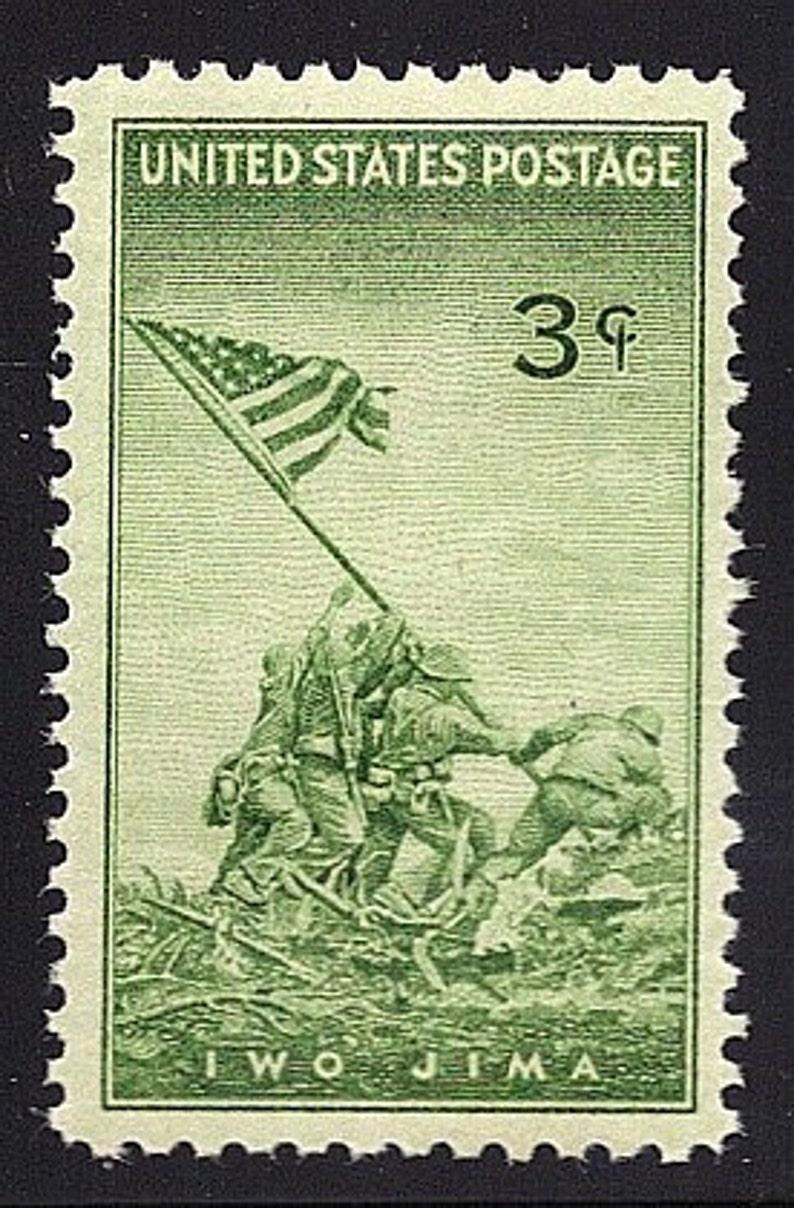 Ten 3c Iwo Jima Marines stamp of 1945    Vintage Unused US Postage Stamp     Pack of 10 stamps  Military History, WWII memorabilia