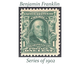 1c Benjamin Franklin stamp of 1902.  Vintage Unused US Postage Stamp | Stamp collecting | Postmaster | pen pals and calligraphy gifts.
