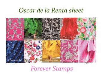 Oscar de la Renta Sheet of 11 Forever stamps / Mail Wedding Invitations | Save the Date | Bridal Shower | Floral Pattern stamps | self-stick