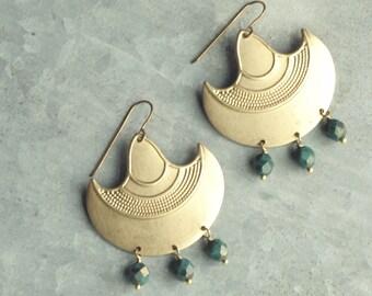 Merida Earrings, Brass Chandelier Earrings, Beaded Earrings, Big, Boho, Bohemian Jewelry