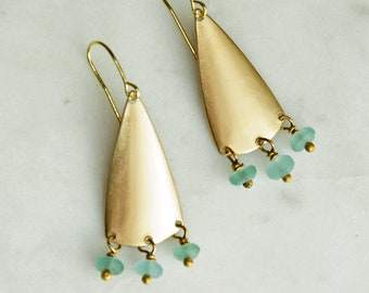 Aqua Chandelier Earrings, Aqua Sea Glass, Choose a Shape, Statement Earrings, Chandelier Earrings
