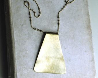 Long Statement Necklace, Geometric Necklace, Long Pendant, Brass Necklace, Long Necklace, Layering Necklace, Bohemian Style