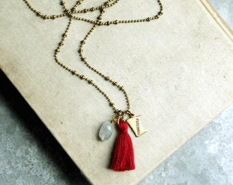 Choose a State Long Necklace, Long Tassel Necklace, State Charm, Choose Your Own