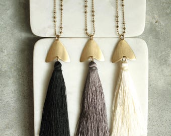 Long Tassel  Necklace, Choose Black, Gray or Ivory