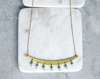 Long Turquoise Necklace, Fringe Statement Necklace, Brass Necklace, Statement Necklace