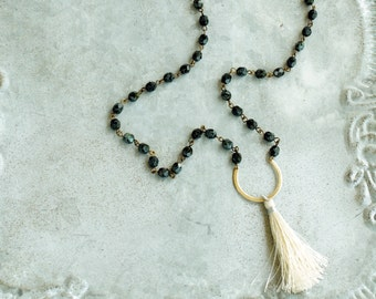Long Tassel Necklace, Off White Tassel and Black Beads, Long Necklace