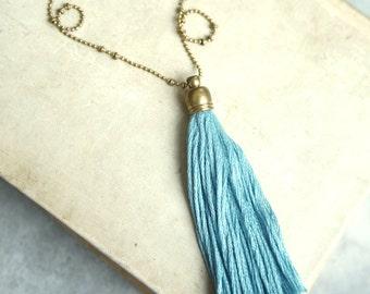 Tassel Necklace, Harbour Blue Tassel Necklace, Long Tassel Necklace, Layering Tassel Necklace