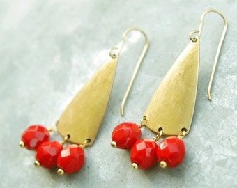 Geometric Earrings, Chandelier Earrings with Red Bead, Long Earrings