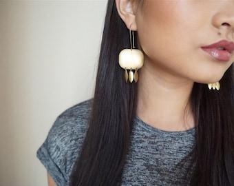 Chandelier Earrings, Golden Brass Geometric Earrings,  Brass Earrings, Statement Earrings, Fringe Earrings