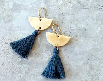 Blue Tassel Earrings, Chandelier Tassel Earrings, Montana Blue Tassel and Brass Crescent