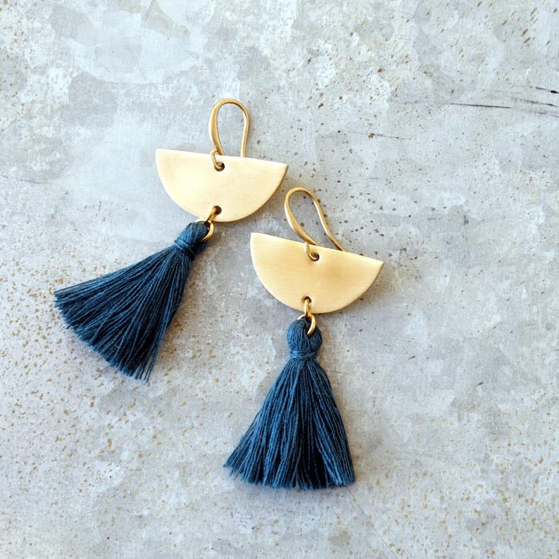 Blue Tassel Earrings Teal Tassel EarringsBrass Earrings image 0