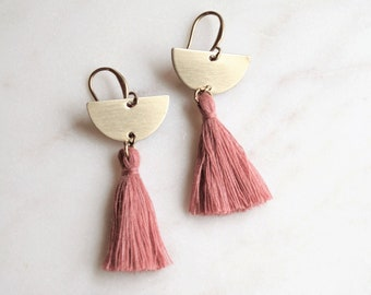 Tassel Earrings Pink, Boho Tassel Earrings, Pink Fringe Earrings, Gold Tassel Earrings, Half Circle Earrings, Gold Semicircle and Pink