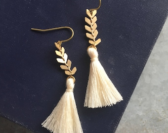 Tassel and Gold Chevron Dangle Earrings