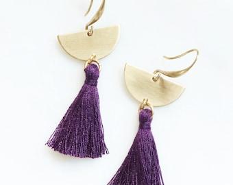 Plum Purple Tassel Earrings, Half Circle Earrings, Eggplant Fringe Earrings, Gold Tassel Earring, Semi Circle Earrings, Dark Purple Earrings