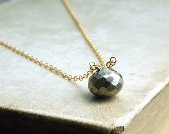Pyrite Necklace, Pyrite Gold Necklace, Gold Filled Chain