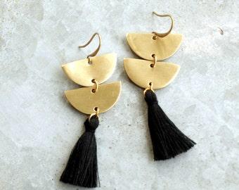 Long Black Tassel Earrings, Brass Crescent Earrings, Semi Circle Earrings with Tassels, Black Fringe Earrings, Half Circle Earrings