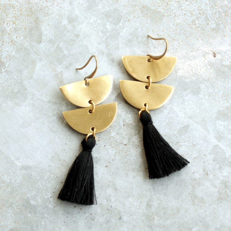 Long Black Tassel Earrings Brass Crescent Earrings Semi image 0