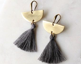 Gray Tassel Earrings, Chandelier Tassel Earrings, Gray Tassel and Brass Crescent, Gold Tassel Earrings, Half Circle Earrings