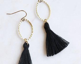 Black Tassel Earrings, Black Fringe Earrings, Dangle Earrings, Gold and Black Earrings, Everyday Earrings, Gift for Friend, Dainty Tassel
